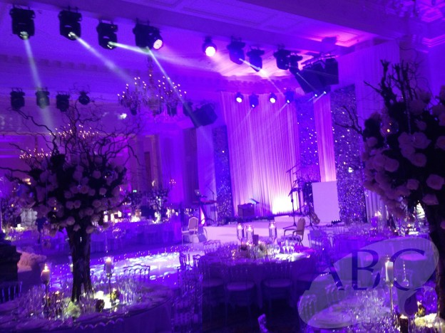 Wedding stage, backdrop and lighting at the Landmark London