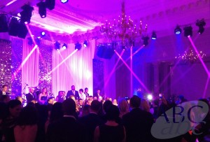 Lighting, backdrop and sound in the Landmark Ballroom