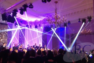 Lighting lighting rig in the Ballroom of the Landmark Hotel London